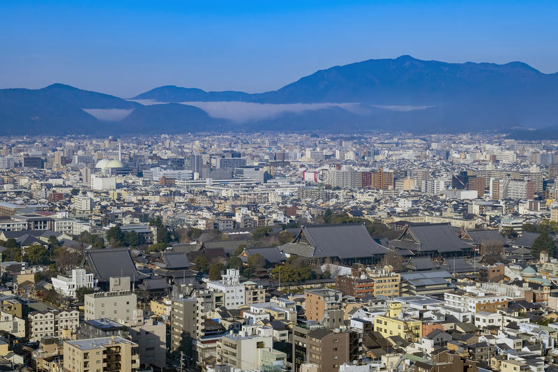 Aerial view of Nishi Honganji and Kyoto downtown cityscape. On Kyoto Tower, Japan royalty free stock photos