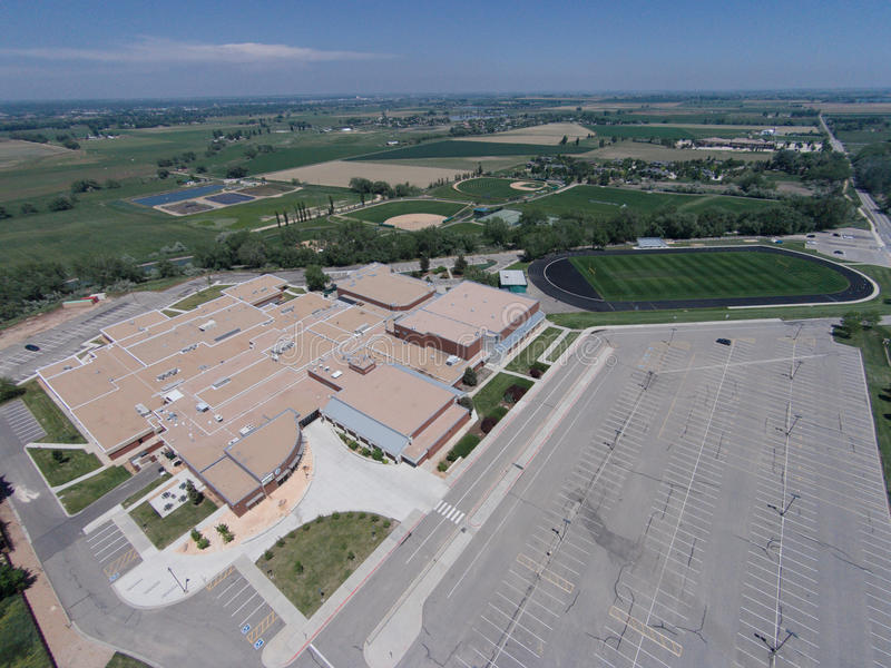 Aerial View of Niwot High School. An aerial view of Niwot High School, including sports fields and parking lot stock photos