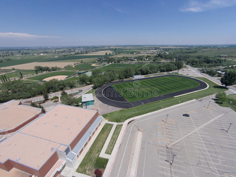 Aerial View of Niwot High School Sports Fields. An aerial view of Niwot High School's football, track, baseball, and tennis facilities royalty free stock images