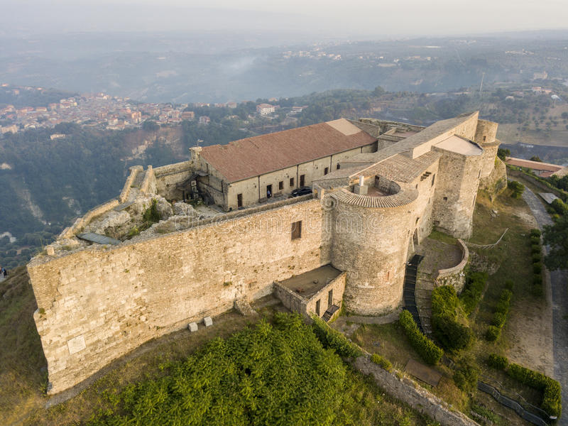 Aerial view of Normanno Svevo Castle, Vibo Valentia, Calabria, Italy stock photo