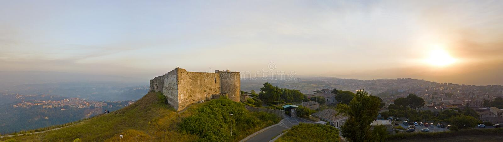 Aerial view of Normanno Svevo Castle, Vibo Valentia, Calabria, Italy royalty free stock images