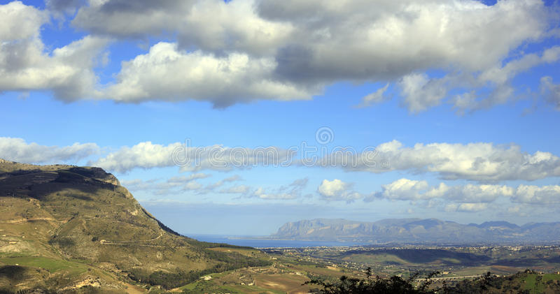 Aerial view of north Sicily coast from Cefalu. Italy royalty free stock photos
