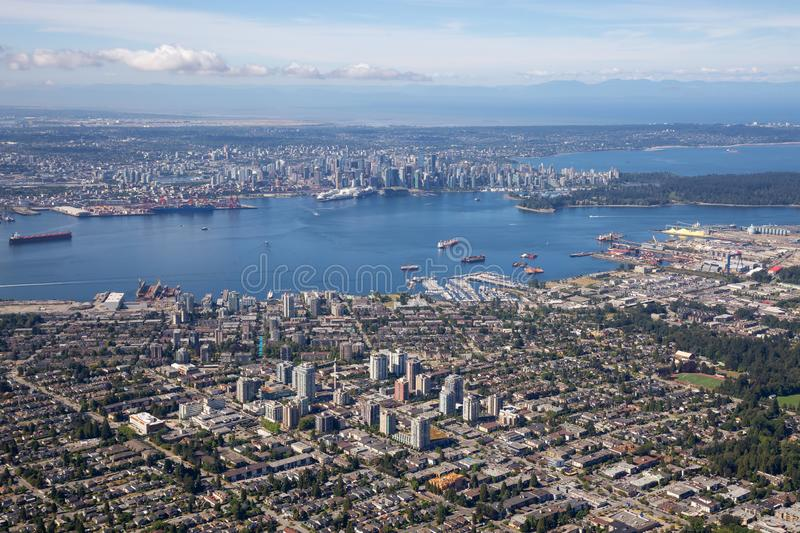 Aerial view of North Vancouver. BC, with Downtown City in the Background stock images