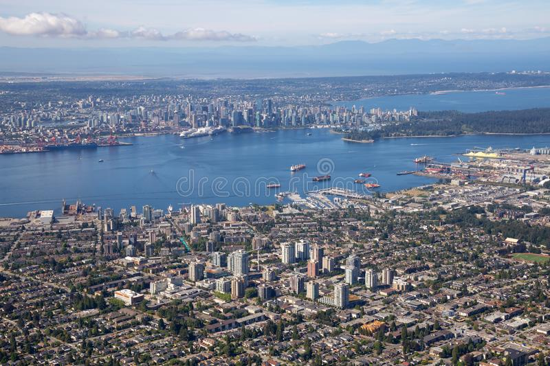 Aerial view of North Vancouver and Downtown Vancouver. Aerial view of North Vancouver, BC, with Downtown City in the Background royalty free stock images