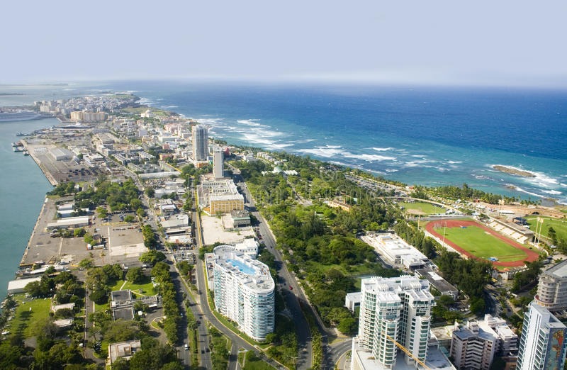 Aerial view of Northeast Puerto Rico stock photo