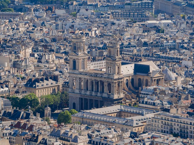 Aerial view of a Notre-Dame Cathedral and cityscape. At Paris, France royalty free stock image