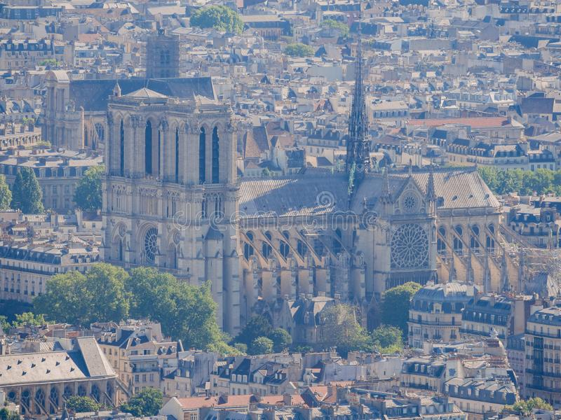 Aerial view of a Notre-Dame Cathedral and cityscape. At Paris, France royalty free stock photography