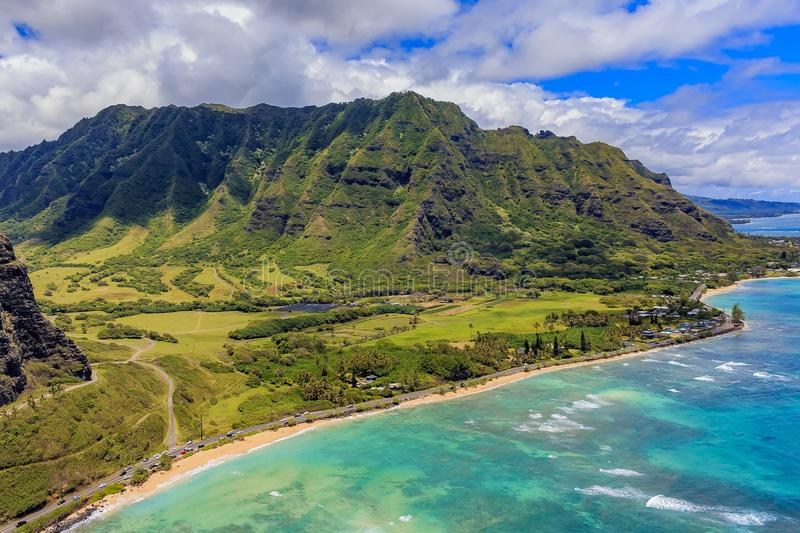 Aerial view of Oahu coastline and mountains in Honolulu Hawaii stock photography
