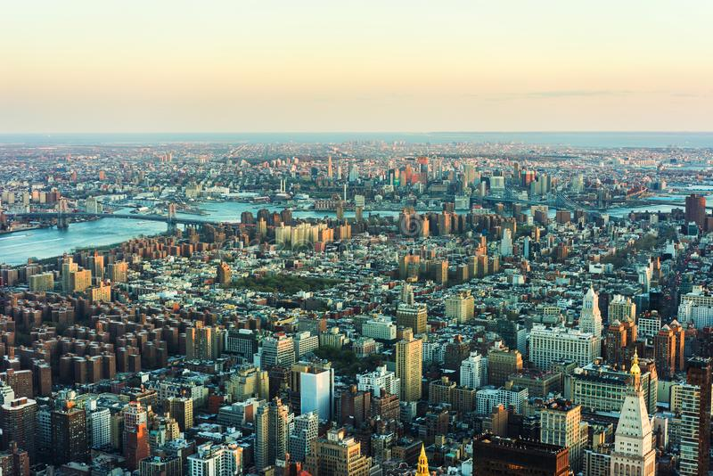 Aerial view of Skyscrapers in Manhattan and Brooklyn NYC stock image