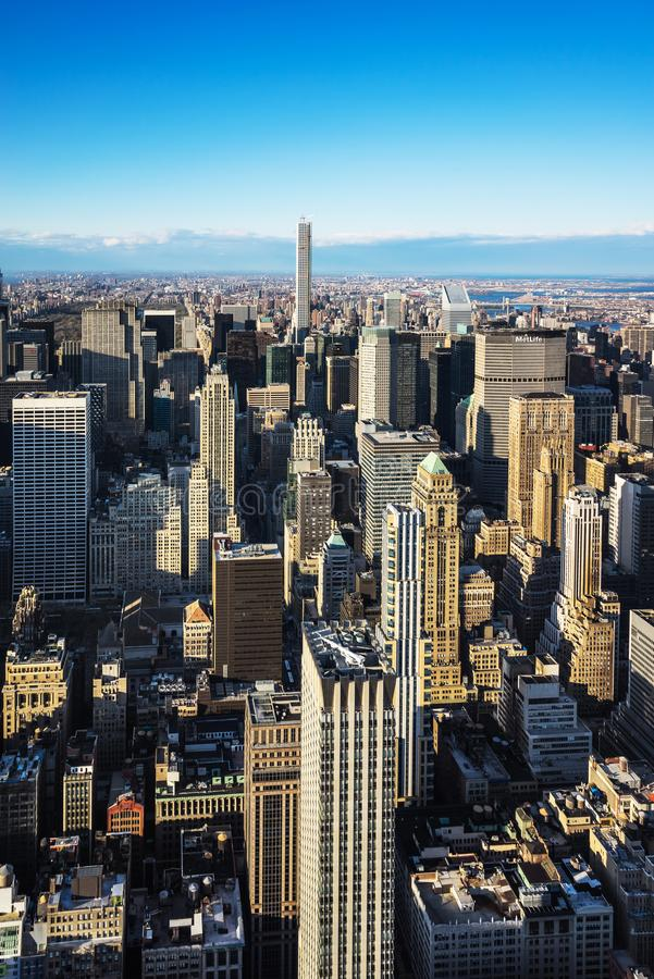Aerial view from Empire State Building on Midtown Manhattan NYC. Aerial view from Observatory deck of the Empire State Building on Midtown Manhattan, New York stock image