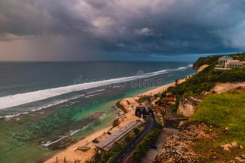 Aerial view of ocean coast with waves and warm sunset or sunrise. Aerial view of ocean coast with waves and warm sunset stock images