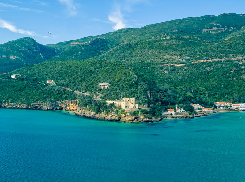 Aerial View Ocean Coastal Landscape of Nature Park Arrabida. In Setubal, Portugal stock photo