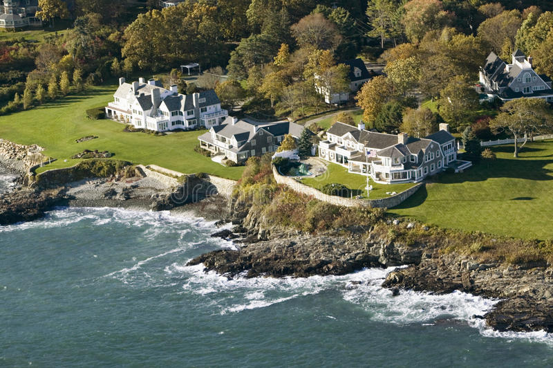 Aerial view of ocean-front estates on coastline of Maine stock photos