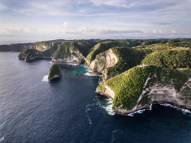 Aerial view on the ocean and rocks. royalty free stock photos
