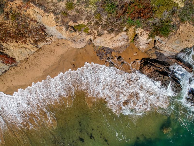 Aerial view of ocean waves from above. Aerial view of ocean waves royalty free stock photography
