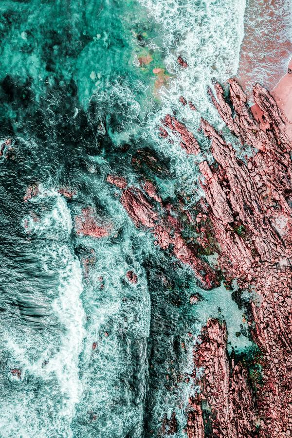 Aerial View Of Ocean Waves. Crashing stock photography