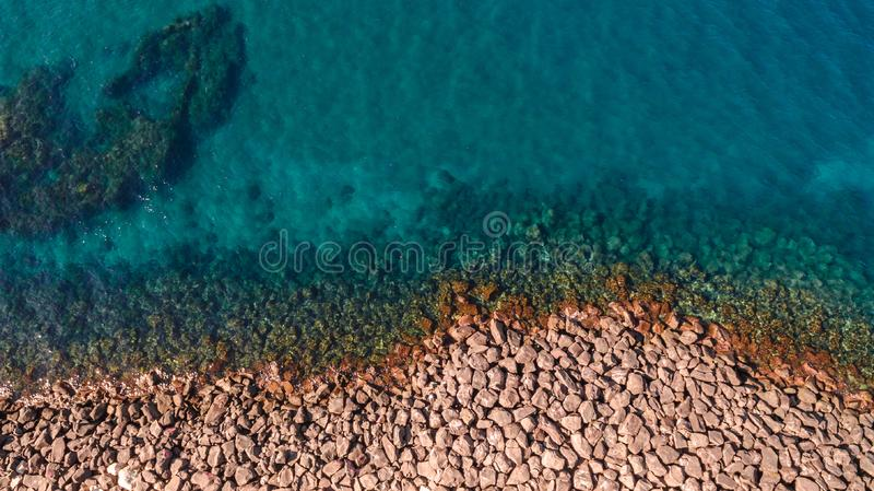 Aerial view of ocean waves and fantastic Rocky coast. Aerial view of ocean waves and fantastic Rocky royalty free stock photos