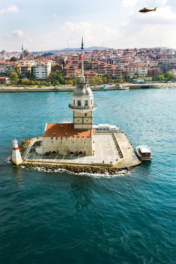 Free Aerial View Of Maiden`s Tower In Istanbul On The Bosphorus. Royalty Free Stock Image - 109539636
