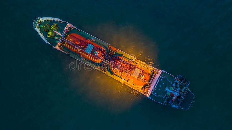 Aerial view oil / chemical tanker in open sea at night, Refinery Industry cargo ship stock images