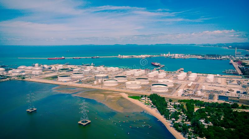 Aerial view of oil industry business fuel storage factory area o. F the oil refinery plant. Tanks for the storage of petroleum products at seaport royalty free stock photography