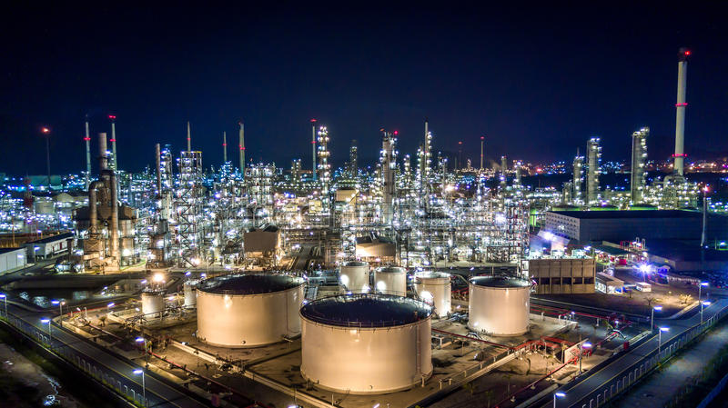 Aerial view oil refinery. Refinery plant, refinery factory royalty free stock images