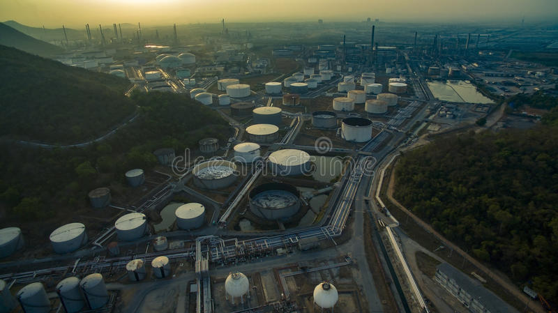 Aerial view of oil tank storage in heavy petrochemical industries estate plant royalty free stock photography