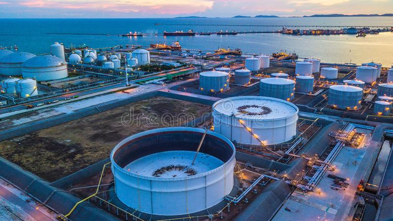 Aerial view oil terminal is industrial facility for storage of o. Il and petrochemical products ready for transport to further storage facilities royalty free stock photos