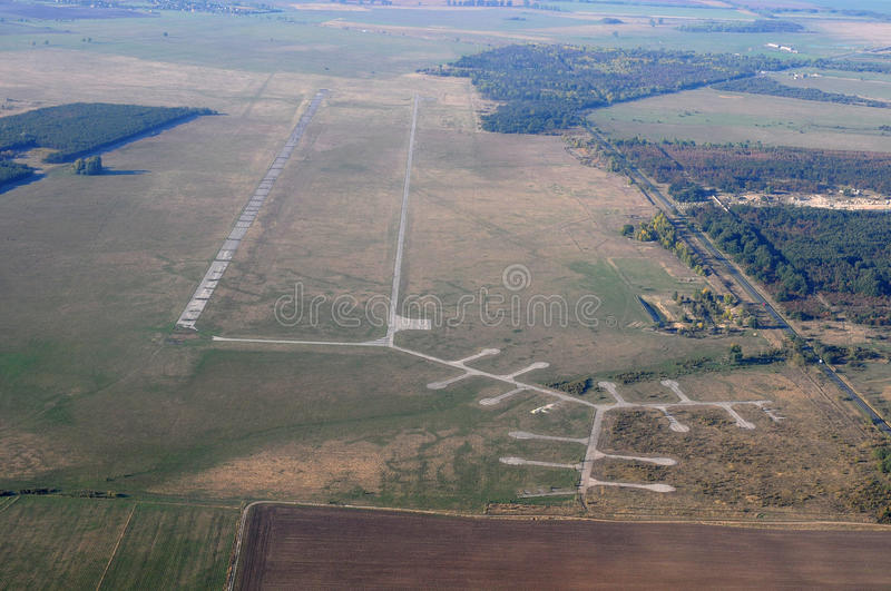 Aerial view - old airport royalty free stock photo