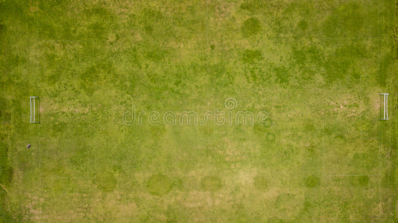 Aerial view of an old football court.  stock images