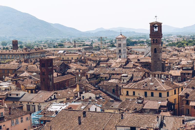 aerial view of old houses of city and mountains, stock photos