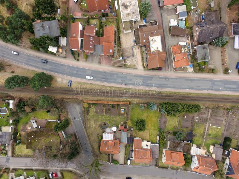 Aerial view of an old housing estate on the outskirts of the cit stock photography