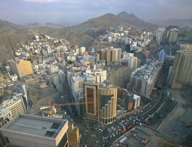 Aerial view of old Mecca Saudi Arabia stock photography