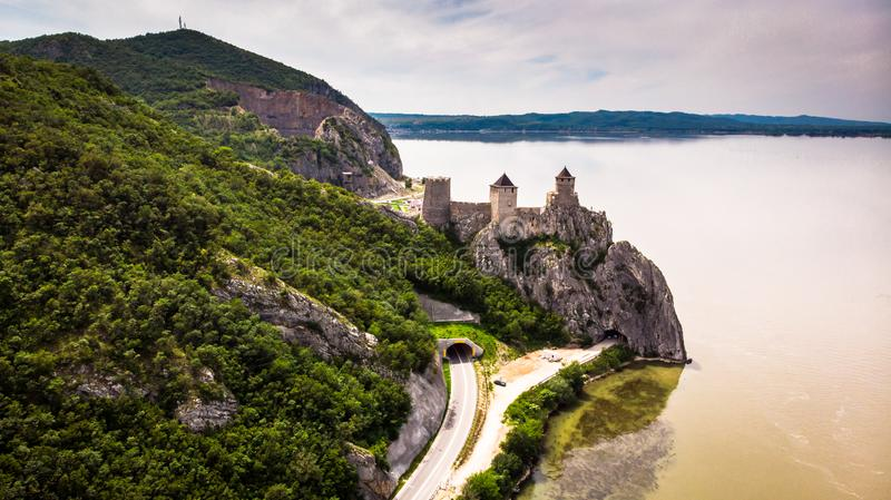 Aerial view of old medieval fortress Golubac. By the Danube river near the Golubac town stock photos