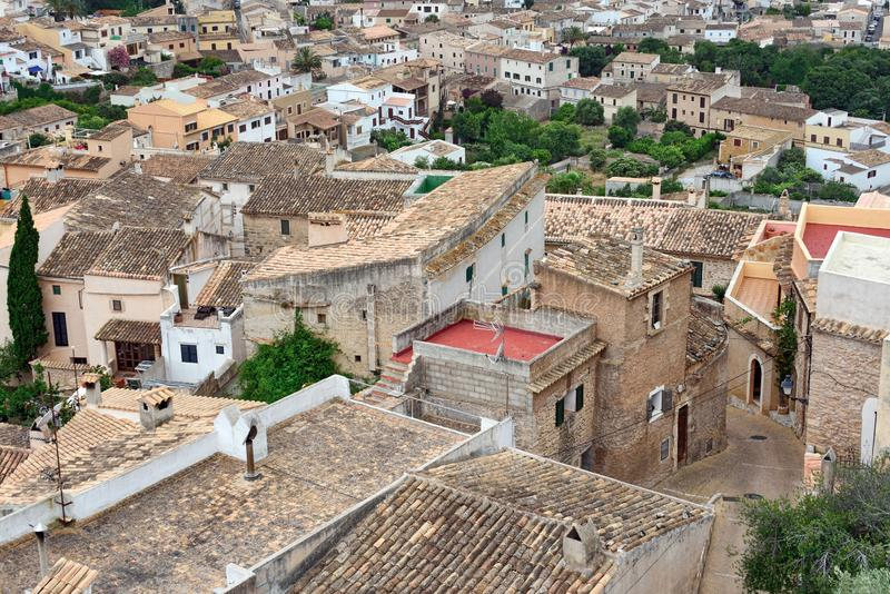 Aerial view of the old municipality of Capdepera as seen from the Castle wall. Island Majorca, Spain. Aerial view of the municipality of Capdepera as seen from stock photography