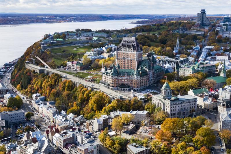 Aerial View of Old Quebec City in the Fall Season, Quebec, Canada. Aerial view of Frontenac Castle in Old Quebec City in the Fall season, Quebec, Canada royalty free stock photography