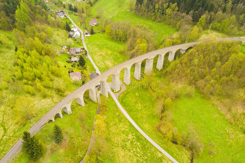 Aerial view of old railway stone viaduct royalty free stock photos