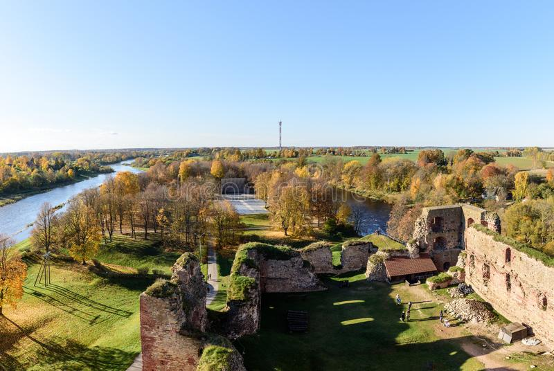 Aerial view on old ruins of castle in Bauska town, Latvia. ÑŽ royalty free stock photography