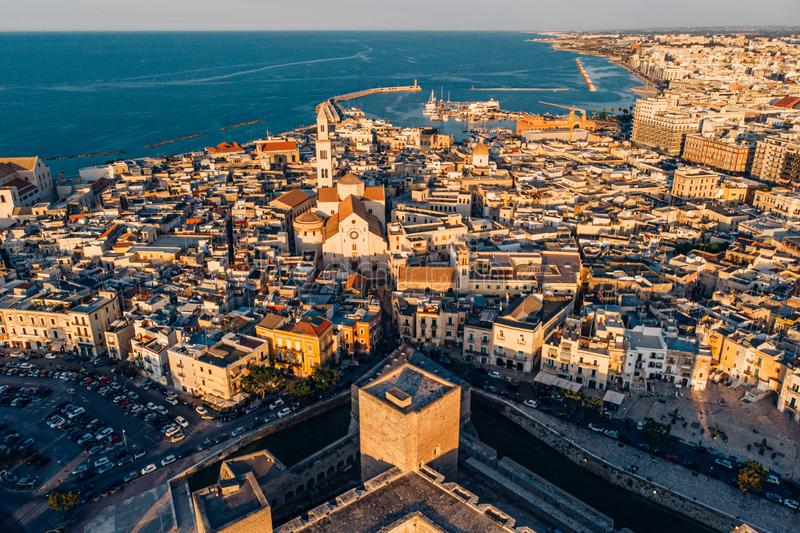 Panoramic view of old town in Bari, drone shot, Puglia, Italy. Aerial view of old town in Bari, drone shot, Puglia, Italy royalty free stock photos