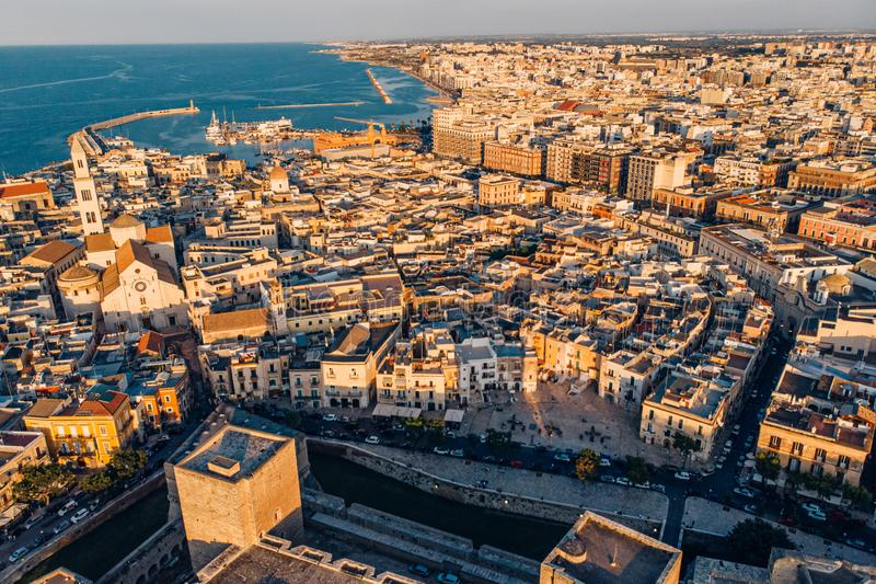 Panoramic view of old town in Bari, drone shot, Puglia, Italy. Aerial view of old town in Bari, drone shot, Puglia, Italy stock photography