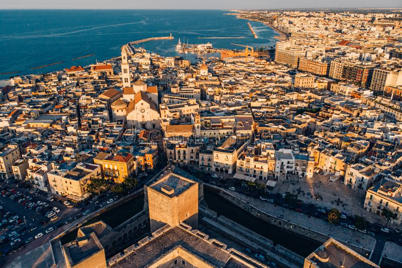 Aerial view of old town in Bari, drone shot, Puglia, Italy. Panoramic view of old town in Bari, drone shot, Puglia, Italy royalty free stock photo
