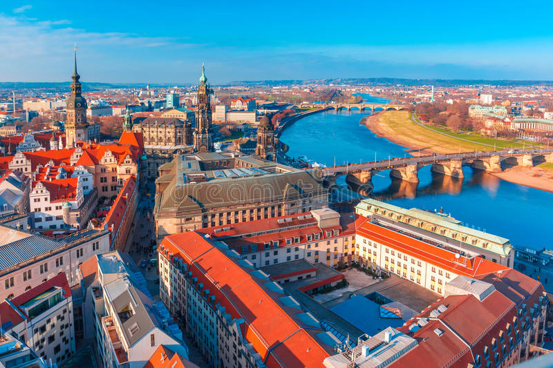 Aerial view of Old town and Elbe, Dresden, Germany stock image