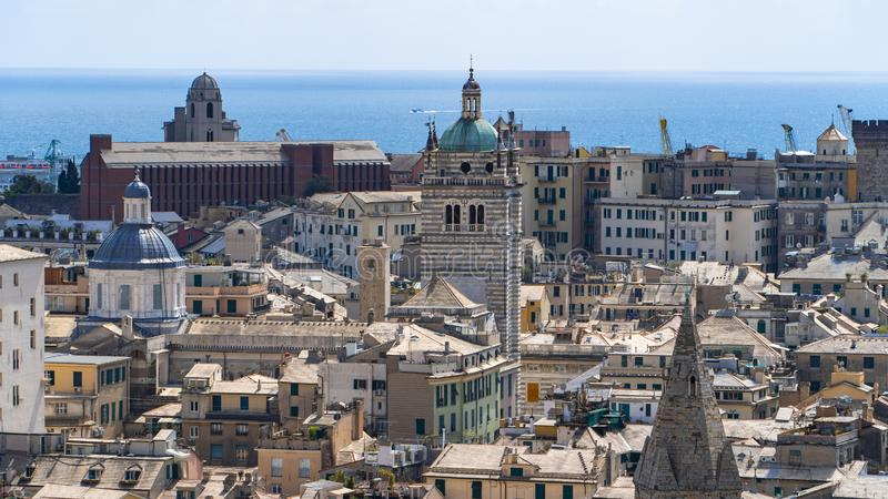 Aerial View of Old Town Genoa. Genova Skyline, Italy royalty free stock images