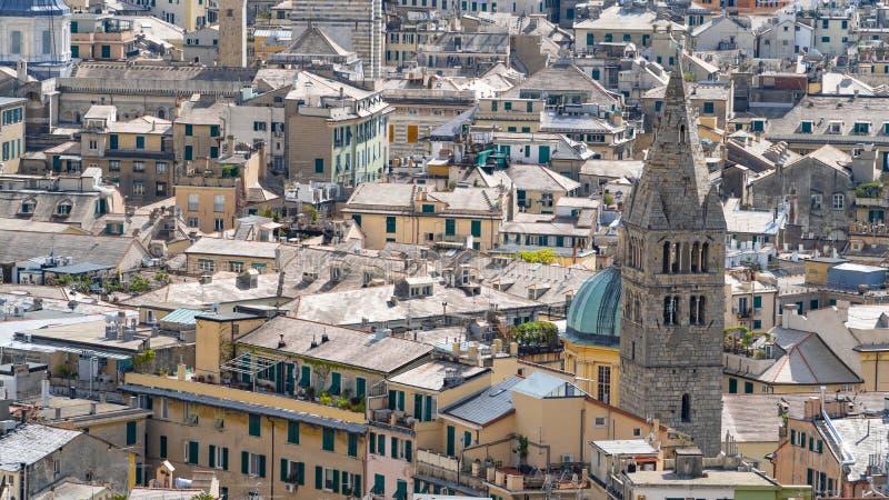 Aerial View of Old Town Genoa. Genova Skyline, Italy stock photo