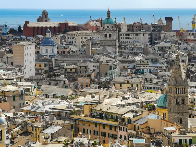 Aerial View of Old Town Genoa. Genova Skyline, Italy royalty free stock photography