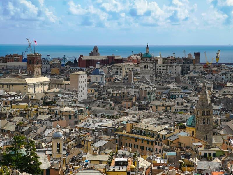 Aerial View of Old Town Genoa. Genova Skyline, Italy stock photos