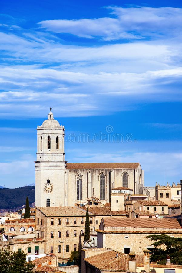 Aerial view of the Old Town of Girona, in Spain royalty free stock photos