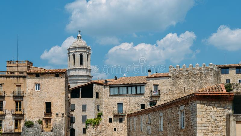 Aerial view of the Old Town of Girona, in Spain royalty free stock photo