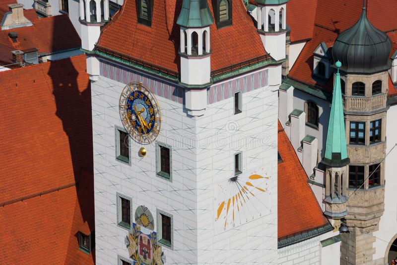 Aerial view of Old Town Hall clock tower Altes Rathaus. Munich, Germany royalty free stock photo
