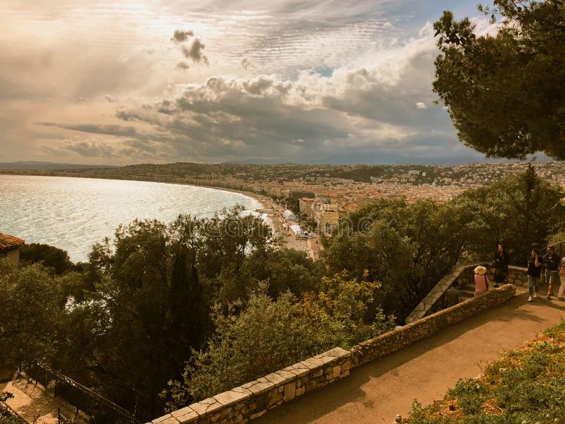 Aerial view of old town of Nice France royalty free stock photography