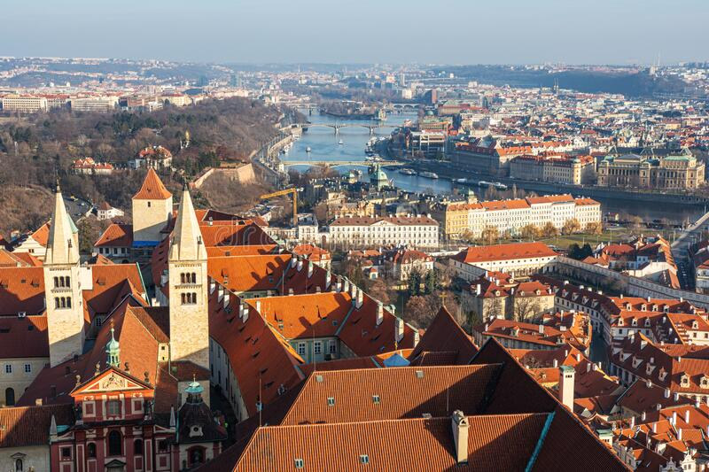 Aerial view of old town in Prague. Czech Republic.  stock images
